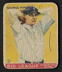 Details About 1933 Goudey Baseball Card 12 George Pipgras F