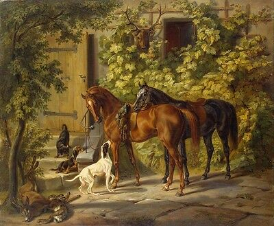 "Art Print Hunting Return Oil painting Picture Printed on canvas 16""x20"" P152"