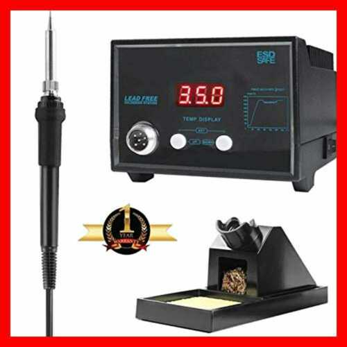 Digital Soldering Iron Station W Stand Tip Cleaning Wire Sponge /& Replacement Ti