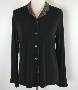 Chico-s-Travelers-Blouse-Size-1-Black-Stretch-Button-Front-Long-Sleeve