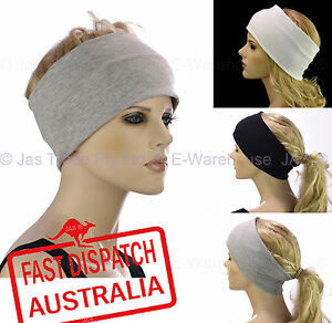 b7dab6849 Details about Ladies Chemo Hair Loss Stretch Cotton Lining Ear Warmers  Sports Wide Headband