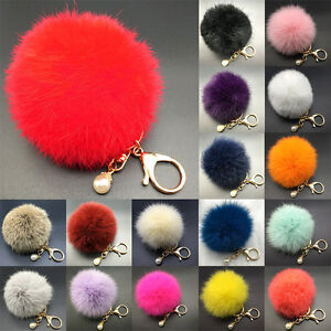 CAD0.99 Rabbit Fur Fluffy Pompom Ball Handbag Car Pendant Key Chain Keyrings