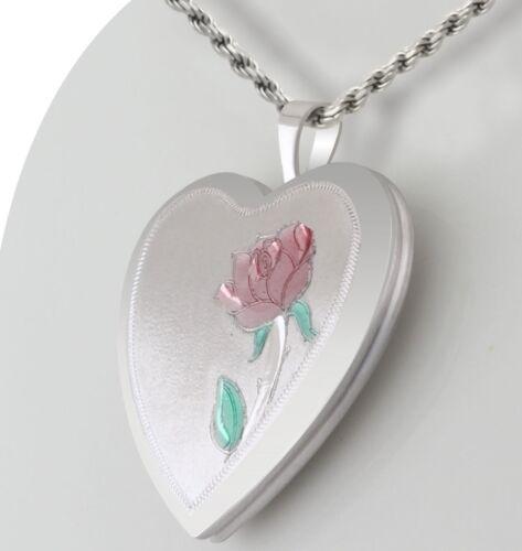 New 0.925 Sterling Silver Rose Flower 2 Photo Heart Locket Pendant Charm