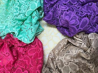"""Hot Pink FLORAL STRETCH LACE FABRIC 60/"""" WIDTH SOLD BY THE YARD"""