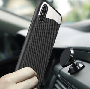 Apple iPhone X Magnetic Backplate Black Carbon Fiber TPU Rubber Cover Case