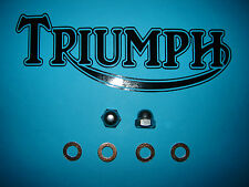 Triumph T140 Bonneville TR7 Rocker Oil Feed Stainless Nuts & Copper Washers Kit