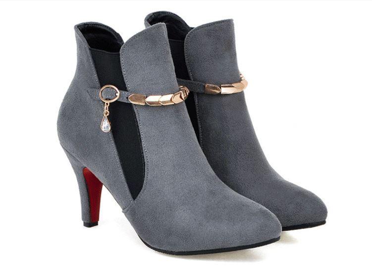 stiefel stilett damenschuhe 8 cm grau komfortabel simil leder 8763