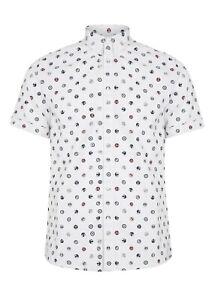 Mens Merc London Retro Mod All Over Badge Logo Fashion Shirt Patrol White