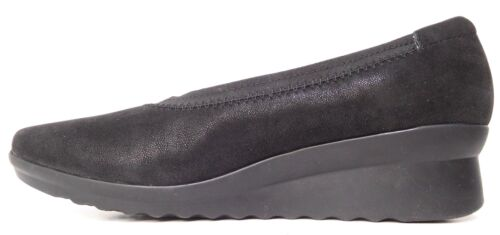 Women's Clarks Caddell Black Synthetic Wedge Slip On Could Stepper Pick Size NEW