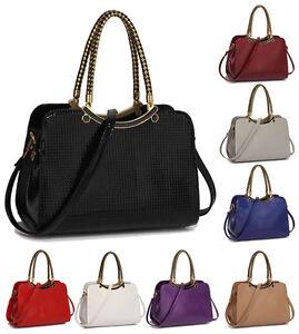 02b9b1055a0d Image is loading Ladies-Stylish-Grab-Shoulder-Handbag-Womens-Designer-Faux-