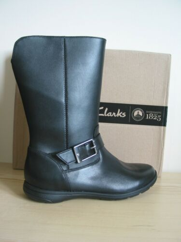 NEW CLARKS GIRLS MARIEL STAR BLACK LEATHER  SCHOOL BOOTS SIZE 1.5 G /& 11.5 G