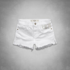ABERCROMBIE & FITCH WHITE HIGH RISE EMBELLISHED DENIM SHORTS 8 W29 10 12!