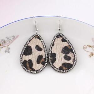 Crystal-Surround-Leopard-Print-Teardrop-Oval-Faux-Leather-Drop-Women-Earrings