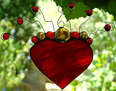 Metal Scrolls Ready to Hang Ruby Red LOVE HEART Real Stained Glass SUNCATCHER