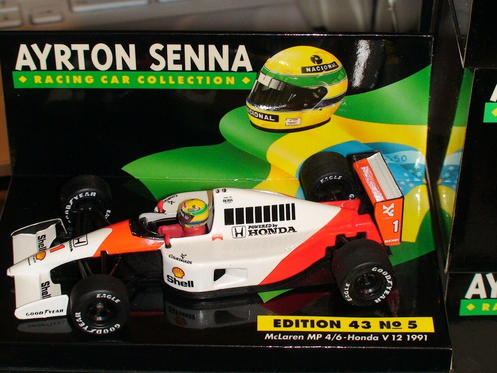 1 43 Minichamps Ayrton Senna McLaren MP 4 6 HONDA V12 1991-ASC manches  5+