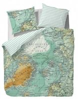 Covers&Co Bettwäsche North Pole Multi Weltkarte Atlas Landkarte Grün 135x200 cm