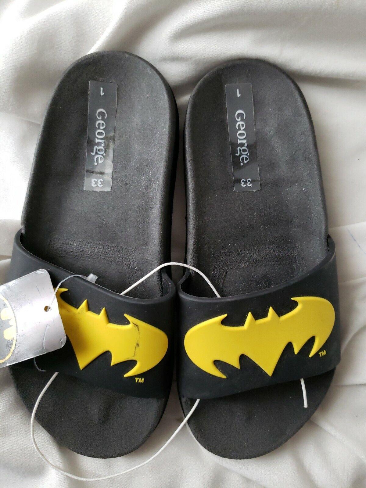 MARVEL BOYS BATMAN Slippers SIZE UK 1 euro 33 beach pool New + Tags see descrip