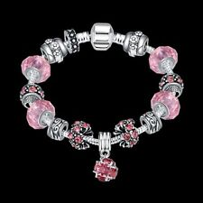 925 Sterling Silver Pink Murano Glass Crystal Charm Womens Bracelet + Box BL127