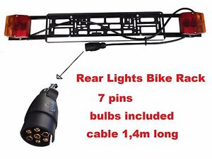 light boards bike rack cycle carrier car trailer 7 pins cable 140cm