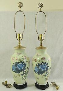 Pair-Antique-Vtg-Chinese-Asian-33-034-Porcelain-FLOWERS-BIRDS-Vase-Table-Lamps