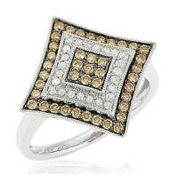 Amazing 10k White Gold Chocolate Brown & White Diamond Statement Ring .55cttw