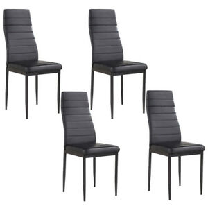 Details About Kenwell Set Of 4 Stunning Dining Chairs Comfortable Black Leather Room