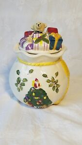 Spode-CHRISTMAS-TREE-Embossed-Cookie-candy-Jar-with-Lid-MINT-CONDITION