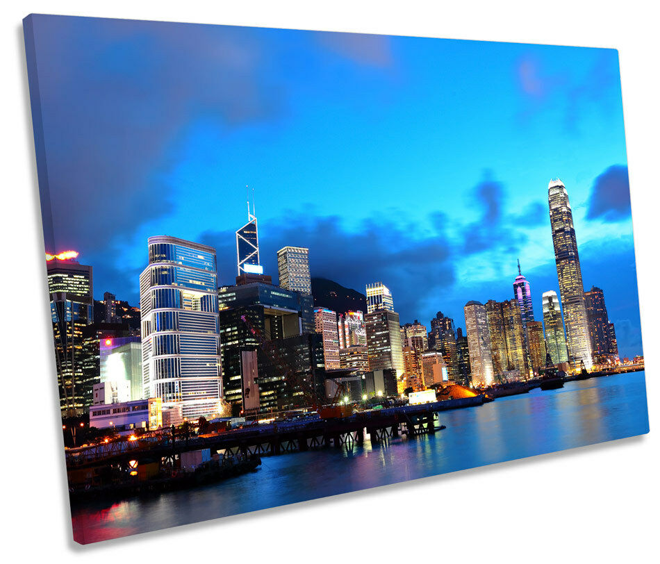 Hong Kong parojo Skyline SINGLE LONA parojo Kong ciudad Azul Imagen de Impresión de Arte f105a8