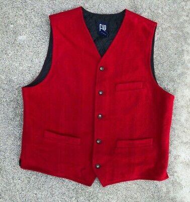 Gap Uomo Rosso Vintage Feltro Imbottito Foderato Gilet | Medium