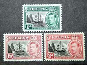1949 St. Helena King George VI Center Colour In Black Complete Set - 3v MLH