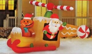 Christmas Inflatable 8/' Animated Santa in Gingerbread Helicopter