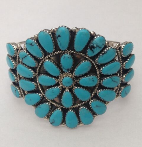 Details about  /Sterling Silver Navajo Handmade Large Cluster Turquoise /& Coral Cuff Bracelet