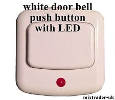 white door bell push button with LED light for low or hight voltage or battery
