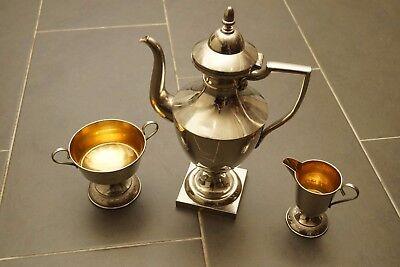 Kaffeekern Mit Milch Und Zuckerschale Versilbert Im Set