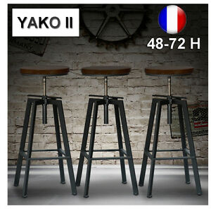 lot de 2 tabourets de bar reglable yako - Lot De 2 Tabouret De Bar
