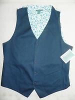 Cubavera Men's Blue Floral Vest 100% Cotton Size M