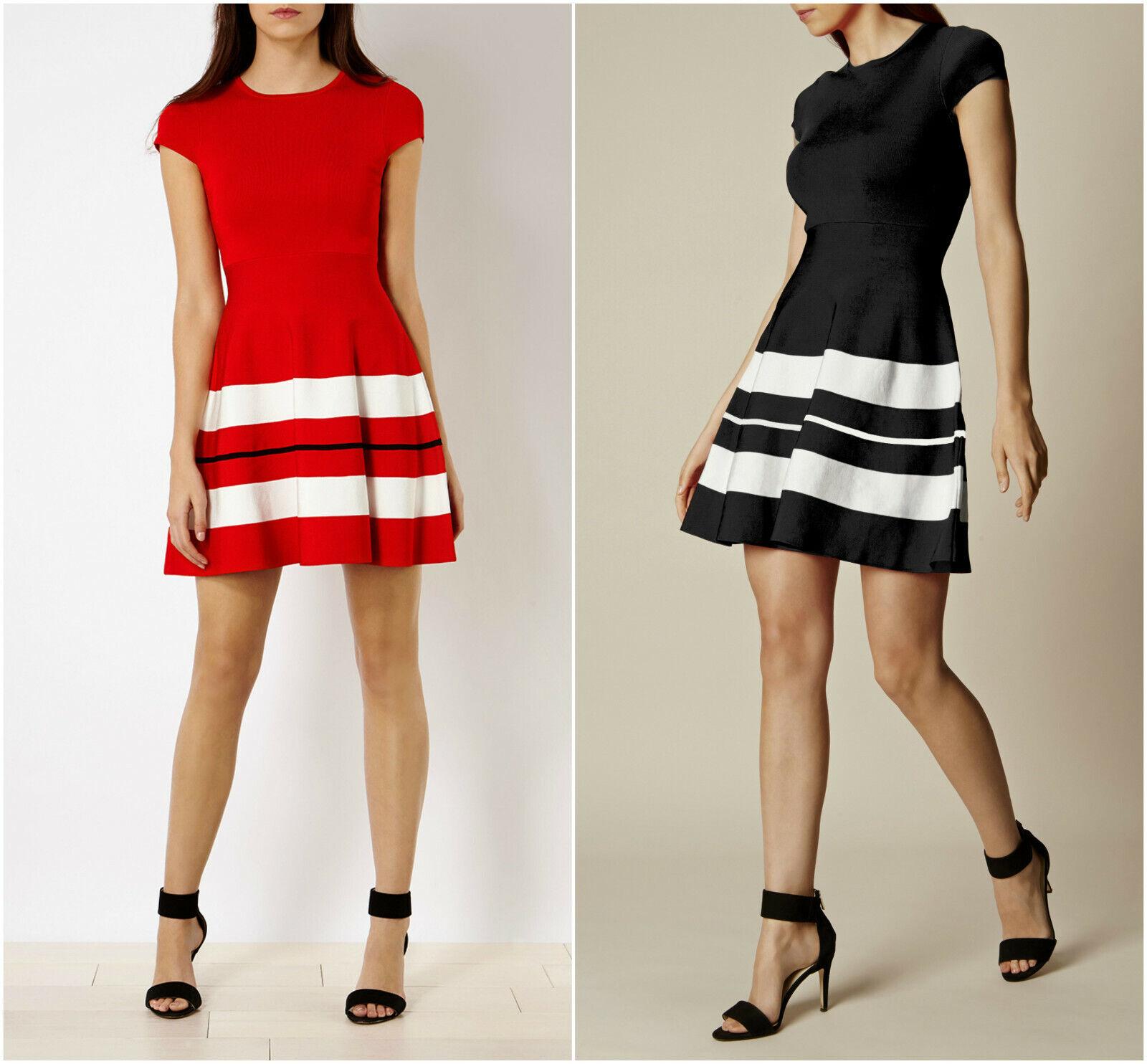 New KAREN MILLEN Stripe BNWT  Bodycon Bandage Knit Dress UK Größe 6 8 16