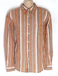 Men's Vintage Multiblu à Manches Longues Hip Longueur Rayé Orange Chemise En Coton Taille L-afficher Le Titre D'origine Couleurs Harmonieuses