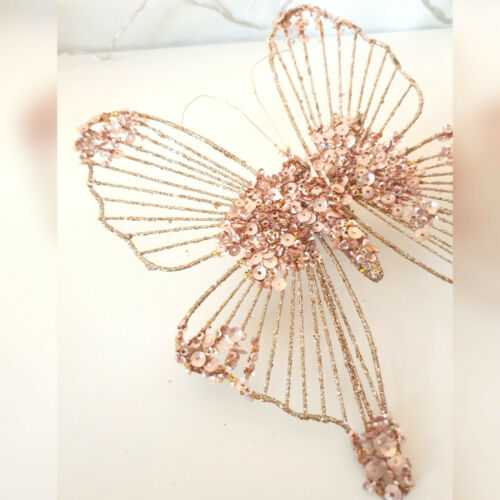Clip Rose Gold Glitter /& Sequin Butterfly Christmas Tree Decoration 20cm Pink