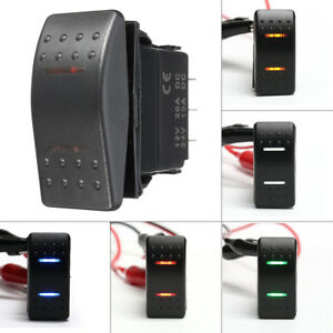 7-Pin-LED-DPDT-ON-OFF-ON-2-Lights-Rocker-Switch-Car-RV-SUV-Boat-Marine-Universal
