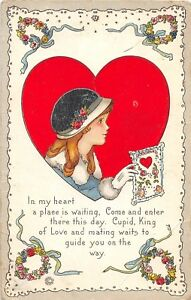 D41-Valentine-039-s-Day-Love-Holiday-Postcard-c1910-Alamo-Michigan-Girl-Fancy-27