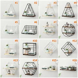 Vintage-Wall-Storage-Unit-Retro-Wood-Industrial-Style-Metal-Wire-Shelf-Rack-New