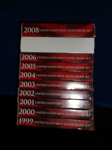 1999-2008-US-Mint-SILVER-Proof-Sets-Complete-W-Boxes-and-COA