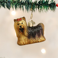 Old World Christmas Yorkie Yorkshire Terrier Dog Glass Christmas Ornament 12151