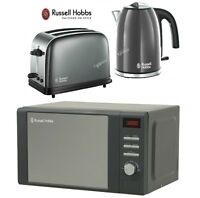 Russell Hobbs Colours Plus Kettle And Toaster Set & Heritage Grey Microwave