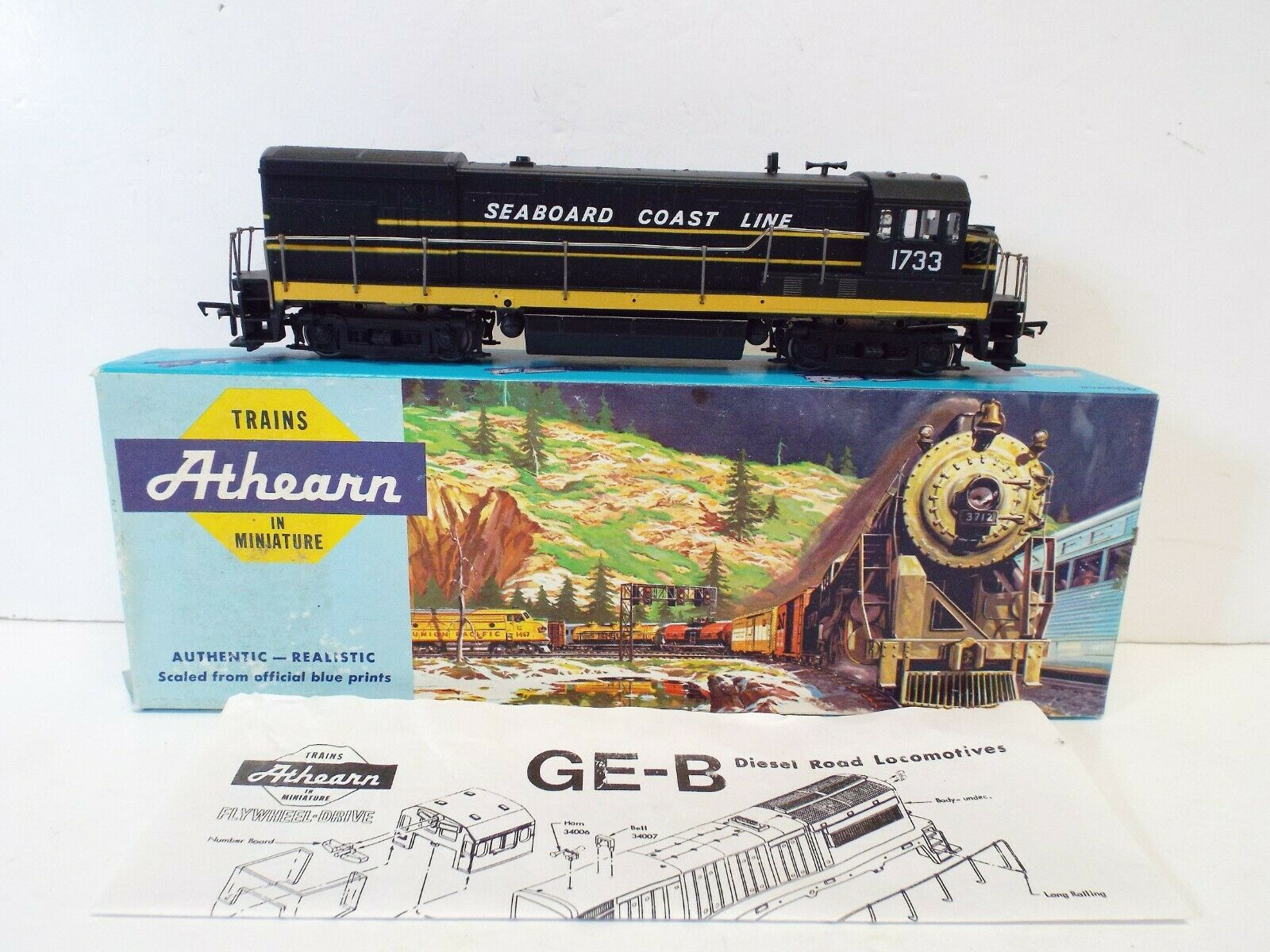 ATHEARN HO 3433 DIESEL SWITCHER S.C.L. 1733 WITH LIGHTS NOS MIB (OO910)