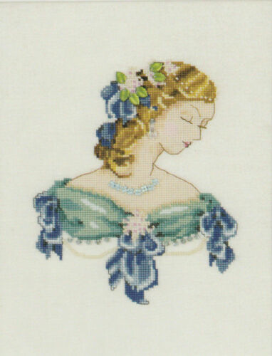 Portrait of Lauren in Blue Counted Cross Stitch Chart Pattern
