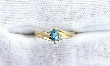 10Kt REAL Yellow Gold Marquise London Blue Topaz Diamond Gemstone Ladies Ring