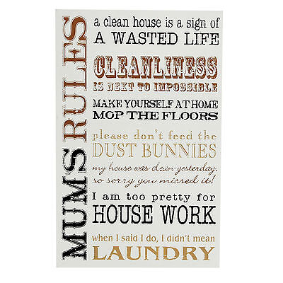 "Mum's Rules Wooden Wall Plaque 14"" X 9"" Gift For Mum Christmas Birthday Gifts"