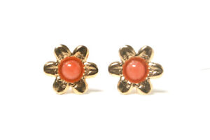 9ct-Gold-Coral-Studs-Flower-earrings-Gift-Boxed-Made-in-UK-Birthday-Gift